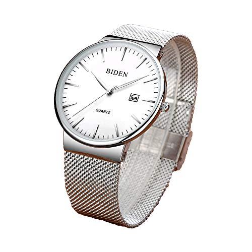 Herren Fashion Uhren minimalistischen Luxus Handgelenk Uhren Herren Ultra Dünn Armbanduhr für Business Kleid Regel, wasserdicht Quarz Armbanduhr Datum mit Silber Mesh Band (Silber)