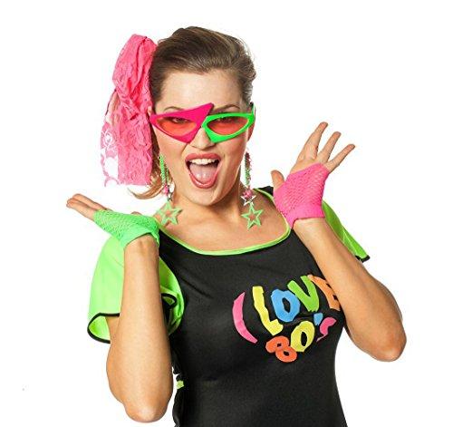 80er Set Neon-Artikel 6 Teile Partykleidung Schlagerparty (80er-jahre-themen-kleidung)