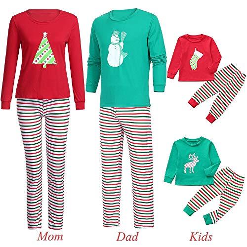 Jaysis Familie Kleidung Pyjamas Weihnachten 2018, Mama & Ich & Daddy & Infant Cartoon Deer Top + Streifen Hosen Kleidung Set Geschenke