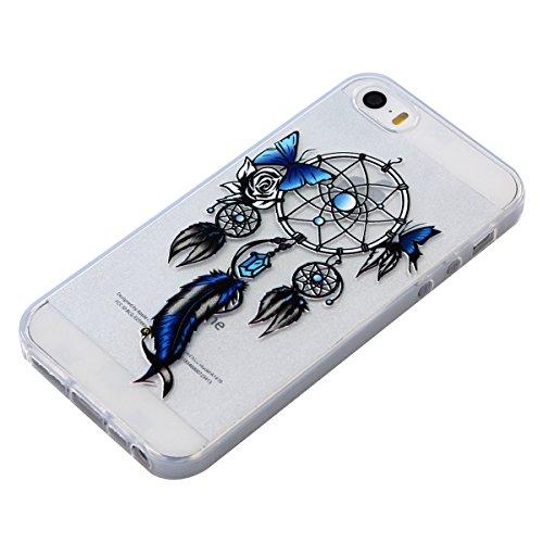 iPhone SE Hülle,iPhone 5S Hülle,iPhone SE 5 5S Glitzer Hülle,JAWSEU iPhone SE 5S 5 Transparent Silikon Hülle TPU Case Schutzhülle Silikon Crystal Case Durchsichtig,Glänzend Glitzer Kristall Luxus Blin Schmetterling Campanula