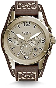 Fossil Nate Men's Champagne Dial Leather Band Chronograph Watch - JR