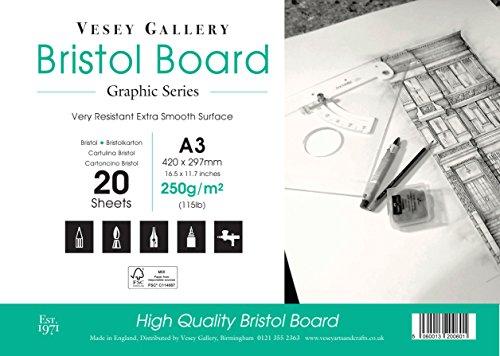 A3de Bristol para dibujo. 20hojas de color blanco, 250g/m² junta por Vesey Gallery