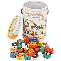 Garosa Cuentas de Madera Threading Toy Gran Juego de Abalorios para Niños Pequeños Juguetes Educativos y de Desarrollo Regalos para Niños Preescolares Niños y Niñas
