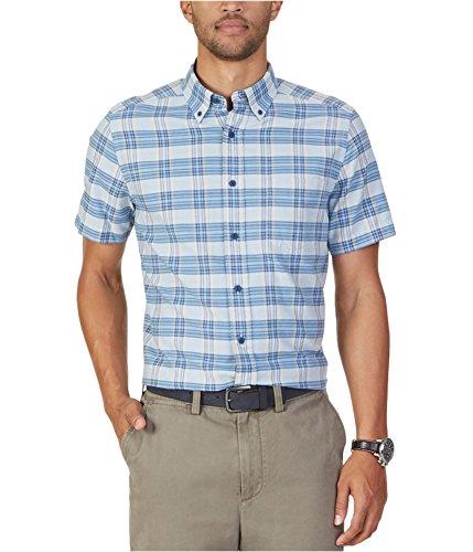 Nautica Herren Hemd, klassisch, kariert, Kurzarm - Blau - Mittel - Nautica Herren Hemd