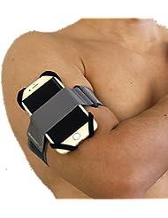 MasterPal elastisches Armbinde für Sport, Fitness Armbinde, iPhone plus 7/ 7/ 6/ 6 Armbinde, iPod Armbinde, Armbinde für Samsung Handys, Armbinde für Smartphone (Silber-Grau M)