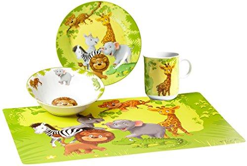 Ritzenhoff & Breker Kindergeschirr Set Dschungeltiere mit Platzmatte, 4-teilig