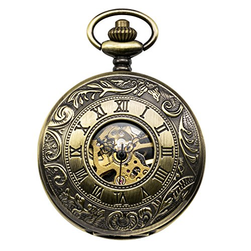 treeweto para Hombre Esqueleto mecánico Reloj de Bolsillo, Retro números Romanos, Mitad Hunter, Bronce