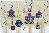 AMSCAN 50Compleanno Metallizzato Decorazioni di Vortice Chevron Design X 12