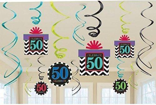 Décorations tourbillon pour anniversaire 50 ans Chiffre 50 x 12 feuille Chevrons 0746550160824
