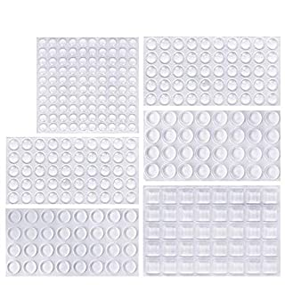ONUEMP Clear Rubber Feet Bumper Pads, 304 Pieces Buffer Pads Adhesive Rubber Feet, 6 Size Cabinet Door Bumpers - Round, Hemispherical, Square Noise-Dampening Bumpers for Drawers, Glass Non Slip