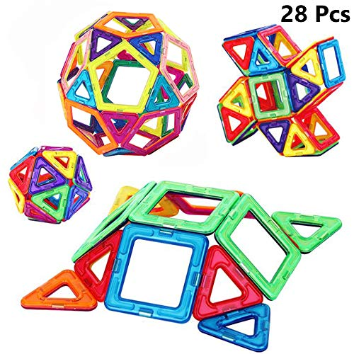 WXIAORONG Magnetic Pieces, 28 Pcs Magnetic Building Blocks Set, Kids Magnetic Toys Construction Stacking Kits Creativity Educational, Kinder-Heimwerk-Spielzeug