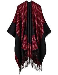 Beunique Femme Poncho Femme Tricot Cape Carreaux Tartan Style Ouverture  écharpe Châle Automne Hiver 1ce4a439c3a