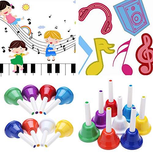 mAjglgE 8 Stück Handglocke 8-Noten Metall Kinder Percussion Musikinstrument Spielzeug Geschenk