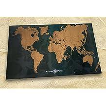 Scratchy Planet – Mapamundi de diseño para rascar, mapamundi para rascar, atlas para rascar, mapa internacional para rascar, mapa XL, versión de diseño en negro y oro