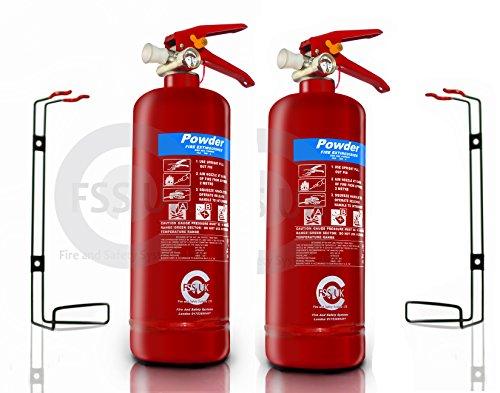 FSS UK - 2 estintori a polvere per incendi A-B-C, 2 kg. Dotati di marchio di qualità secondo gli standard britannici. Ideali per case galleggianti, cucine, posti di lavoro, uffici, auto, furgoni, magazzini, garage, hotel e ristoranti