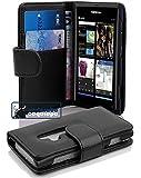 Cadorabo - Book Style Hülle für Nokia Lumia 800 - Case Cover Schutzhülle Etui Tasche mit Kartenfach in OXID-SCHWARZ