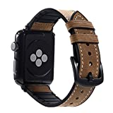 Tasikar Armband für Apple Watch Armband 42mm Leder und Flexiblem Silikon Design für Apple Watch 42mm Series 3/2/1 (Braun)