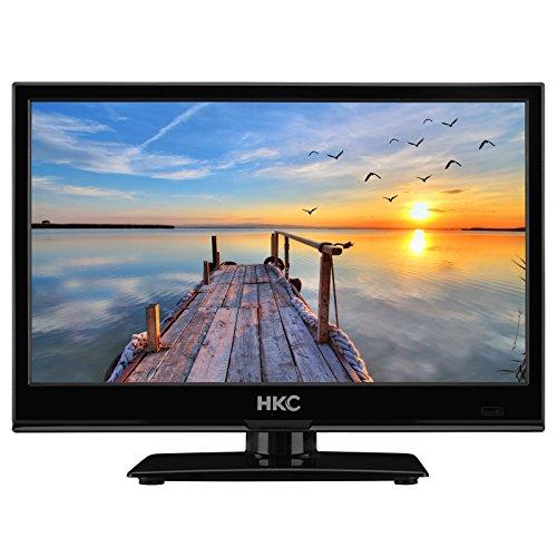 HKC 16M4 15,6 Zoll (39,6 cm) LED-TV (Dreifach-Tuner, DVB-T2 / S2 / T / S / C, CI +, H.265 / HEVC. 230V / 12V, 12Volt Kfz-Ladegerät / Kabel im Lieferumfang enthalten) Schwarz, Energieklasse A +