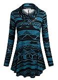 BaiShengGT Femme Tunique Ample Col Foulard avec Boutons T-Shirt Longue Bleu-Noir Medium