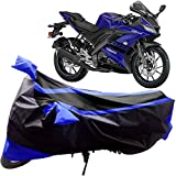 Adroitz Bike Covers, Bike Body Cover for Yamaha YZF R15 V3 Bike with Mirror Pocket and Double Stripe in Matte Black & Blue