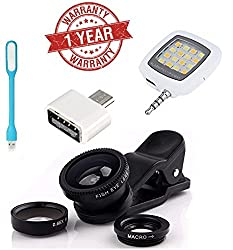 MacBerry Lenovo Vibe K5 Note Compatible Combo of Universal Mobile Camera Lens Kit, OTG Adapter, USB LED Light and Selfie Flash Light