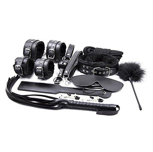 Stillshine Plüsch Leder Sex Werkzeuge Restraint System Fetisch Bondage Kit von 10 Stück (schwarz )