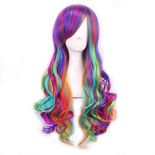 Kostüme Roten Cosplay Mit Haaren (Perücke Damen Lolita Langhaarperücke Wig Cosplay Regenbogen Bunt lockig perücken für Karneval Fasching Halloween Kostüme Party Fest -TAIYCYXGAN (Onesize,)