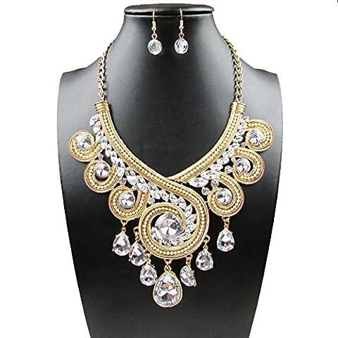 L / C. Art Und Weise übertrieben Kristalltropfen Halskette Halskette,Beige-OneSize