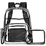 NiceEbag Clear Rucksack mit Kosmetiktasche & Tasche, Klar Transparent PVC Multi-Taschen Schulrucksack Outdoor Bookbag Reise Make-up Quart Gepäck Beutel Organizer Fit 15,6 Zoll Laptop,Schwarz