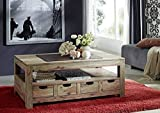 MASSIVMOEBEL24.DE Sheesham Massivholz Couchtisch 120x70 Palisander Möbel massiv Holz Nature Grey #33