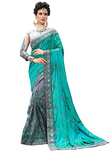 Panash Trends Women's Heavy Embroidered & Hand Work Stone Saree (UJJ.K710,T)