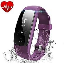 Runme Tracker d'Activité avec Cardiofréquencemètre, Bracelet Connecté Bluetooth 4.0 Montre Smart pour Sport Fitness, Montre Connectée avec Podomètre Traqueur de Sommeil Compatible avec Android et IOS Smartphone
