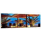 Glasbild - Pebble Beach Kroatien Sonnenschirm - 120x40 cm - Deko Glas - Wandbild aus Glas - Bild auf Glas - Moderne Glasbilder - Glasfoto - Echtglas - kein Acryl - Handmade