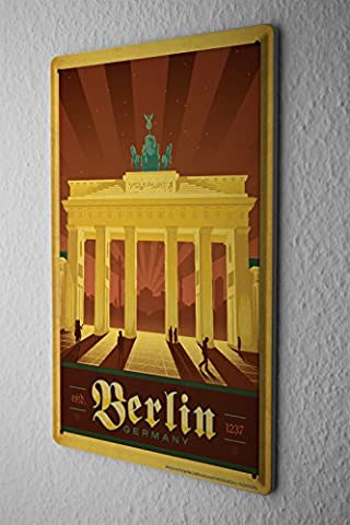 Tin Sign Deco City Berlin Brandenburg Gate
