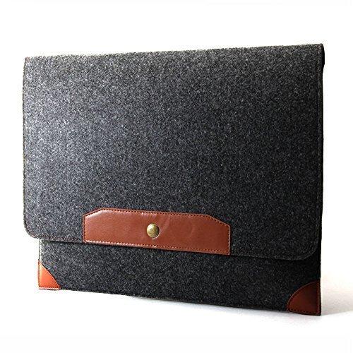 GMYLE Sleeve Felt für MacBook Pro 13 Zoll- Dark Grau & Braun Wolle Filz Hülle Tasche Laptophülle (Pro Macbook Türkis-fall)