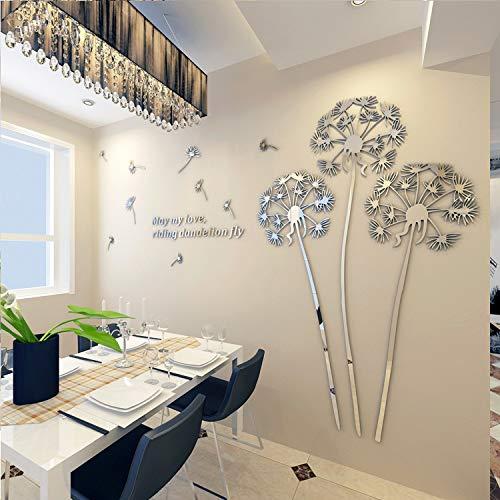 Diente De León Acrílico Espejo Pegatinas De Pared Creativo De Cristal Tridimensional Dormitorio Auto-Adhesivo Salón Decoración De Plata 225X210 Cm