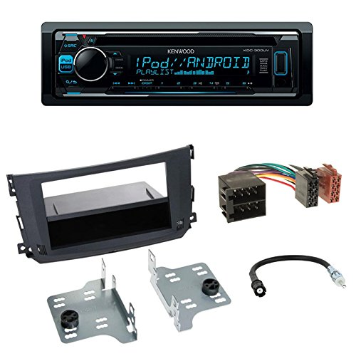 Autoradio Kenwood KDC-300UV CD Autoradio+2-DIN Radioblende + Fach schwarz + ISO Adapter Antennenadapter für Smart Fortwo (C451 Facelift) 09/10-10/14 City-Coupe Fortwo (A451 Facelift) 09/2010-12/2015