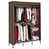 Best Home Double Rod Portable Closet Organizers - Ceanfly Portable Wardrobe Hanging Rack Clothes Folding Cupboard Review