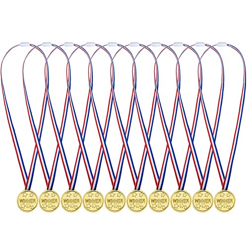48 Packung Kunststoff Gewinner Medaillen Goldene Auszeichnungen für Kinder Sport Party, Wettbewerb (Medaillen)
