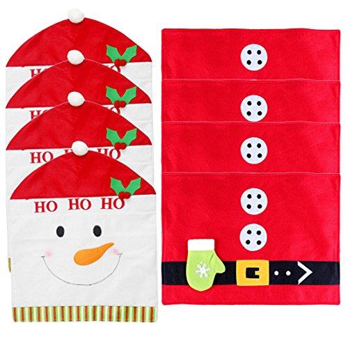 Teckpeak 4Pcs Snowman Christmas Kitchen Chair Slip Covers Family Chair Covers + 4Pcs Christmas Tableware Mat