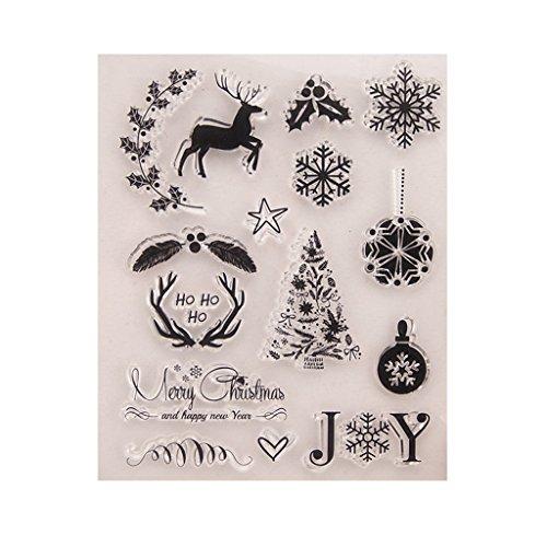 Kimyu Weihnachten-Muste Gummi durchsichtiger Transparent Stempel DIY Collage Album Decor -