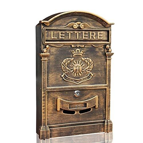 ndhaus-im Freien An Der Wand Befestigter Briefkasten-Gussaluminium-Zeitungs-Kasten Retro Ausgangspostkasten Mit Verschluss-Inbox -Mail-Sammlung ()