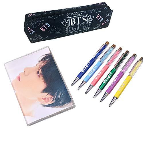 GOTH Perhk BTS Bangtan Boys Love Yourself, Student Federmäppchen Federbeutel Tasche + Notizbuch mit Gummimanschette stationär + Kugelschreiber, das beste Geschenk für Army(SUGA3)