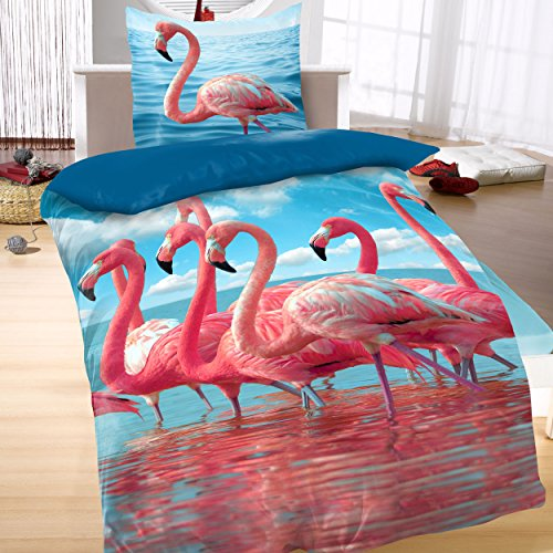 Baumwoll Satin Bettwäsche Wende 135×200 2-teilig Tiere Flamingo Wasser rosa