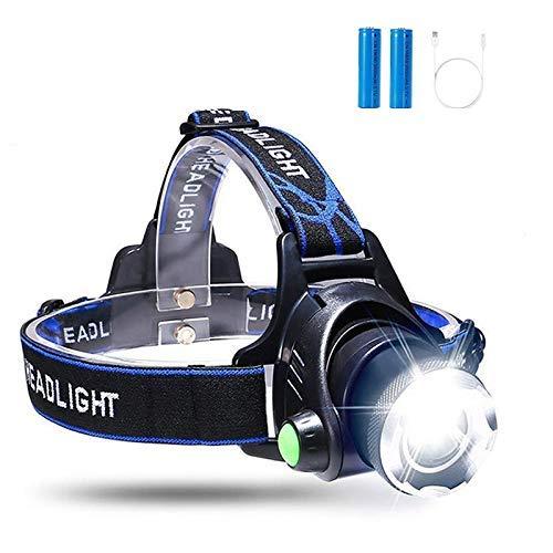BACKTURE Linterna Frontal, Linterna de Cabeza Recargable USB 4 Modos de Luz LED, Impermeable Para Camping, Pesca, Ciclismo, Carrera, Caza