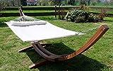 Amaca XXL deluxe nobile 410cm supporto in legno larice mod. LIMITED EDITION CREME con amaca di AS-S