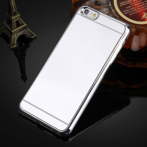 [ Spiegel Hülle für iPhone 6 aus weichem Silikon ] Soft Case Mirror Effect Schutzhülle | Luxus Spiegelhülle glänzend | Handy Cover spiegelnd | Movoja® | rose gold Spiegelhülle Silber