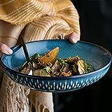 SLW Kitchenaid Keramik Servierschale Große Obstsalat Schüssel Geschirr Weiß Müslischüssel Rührschüssel Blau