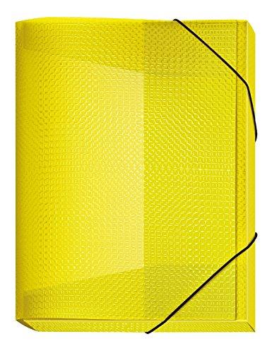 Veloflex 4443710 Sammelbox Velocolor, DIN A4, mit Gummizug, Dokumenten-Box, Heft-Box, aus PP-Material, gelb