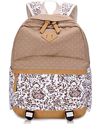 COUSIN CANAL Casual Lightweight Canvas Laptop Bag/Shoulder Khaki floral